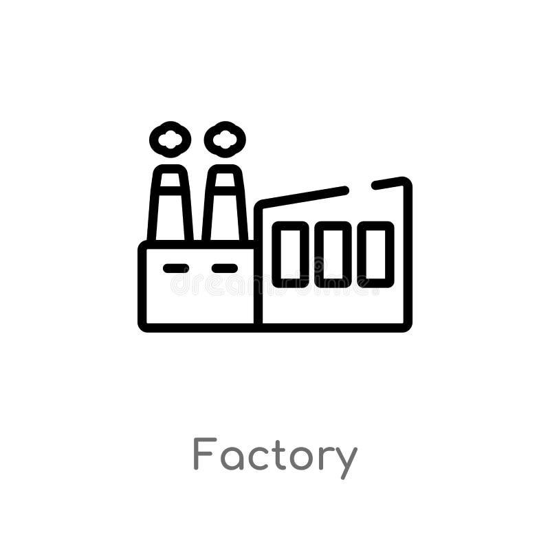 ícone do vetor da fábrica do esboço linha simples preta isolada ilustra??o do elemento da entrega e do conceito log?stico Vetor e ilustração stock