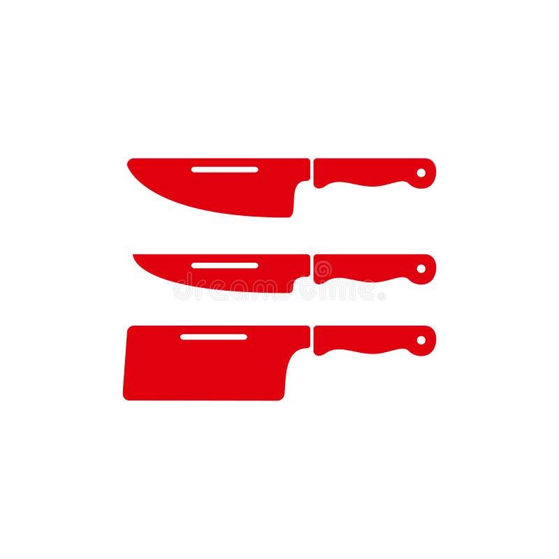 Ícone do vetor da faca de cozinha ícone da faca da cutelaria ilustração stock