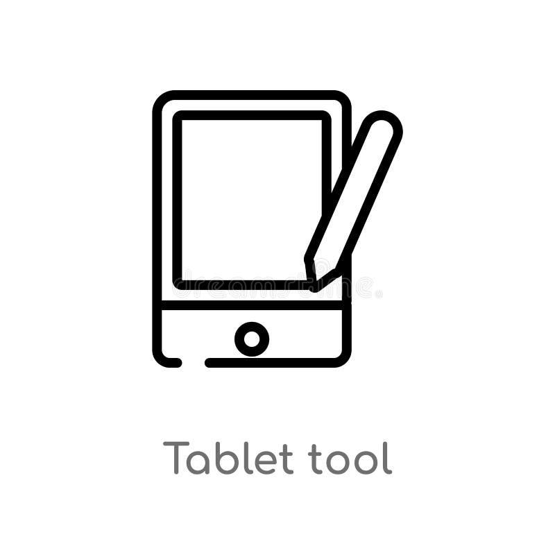 ícone do vetor da ferramenta da tabuleta do esboço linha simples preta isolada ilustra??o do elemento do conceito do computador C ilustração royalty free
