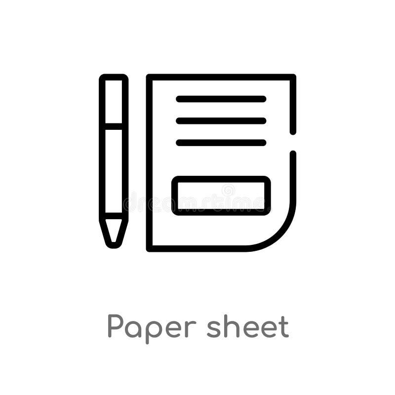 ícone do vetor da folha do papel de esboço linha simples preta isolada ilustração do elemento do conceito dos sinais papel editáv ilustração do vetor