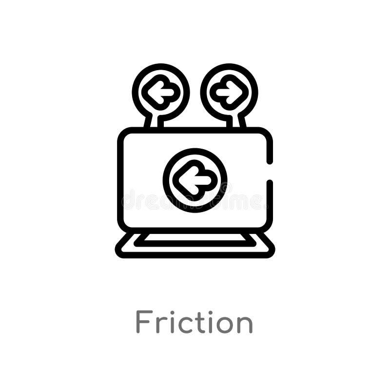 ícone do vetor da fricção do esboço linha simples preta isolada ilustração do elemento do conceito da música fricção editável do  ilustração stock
