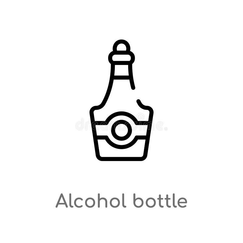 ícone do vetor da garrafa do álcool do esboço linha simples preta isolada ilustra??o do elemento do conceito do deserto Curso edi ilustração royalty free