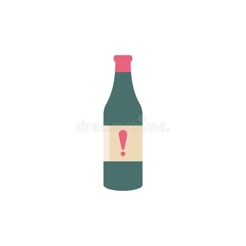 Ícone do vetor da garrafa com marca de exclamação Barre o ícone da bebida do álcool e o alerta, erro, alarme, símbolo do perigo ilustração royalty free