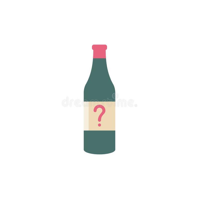 Ícone do vetor da garrafa com ponto de interrogação Barre o ícone e a ajuda da bebida do álcool, como a, informação, símbolo da p ilustração royalty free