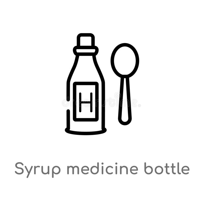 ?cone do vetor da garrafa da medicina do xarope do esbo?o linha simples preta isolada ilustra??o do elemento do conceito m?dico V ilustração stock