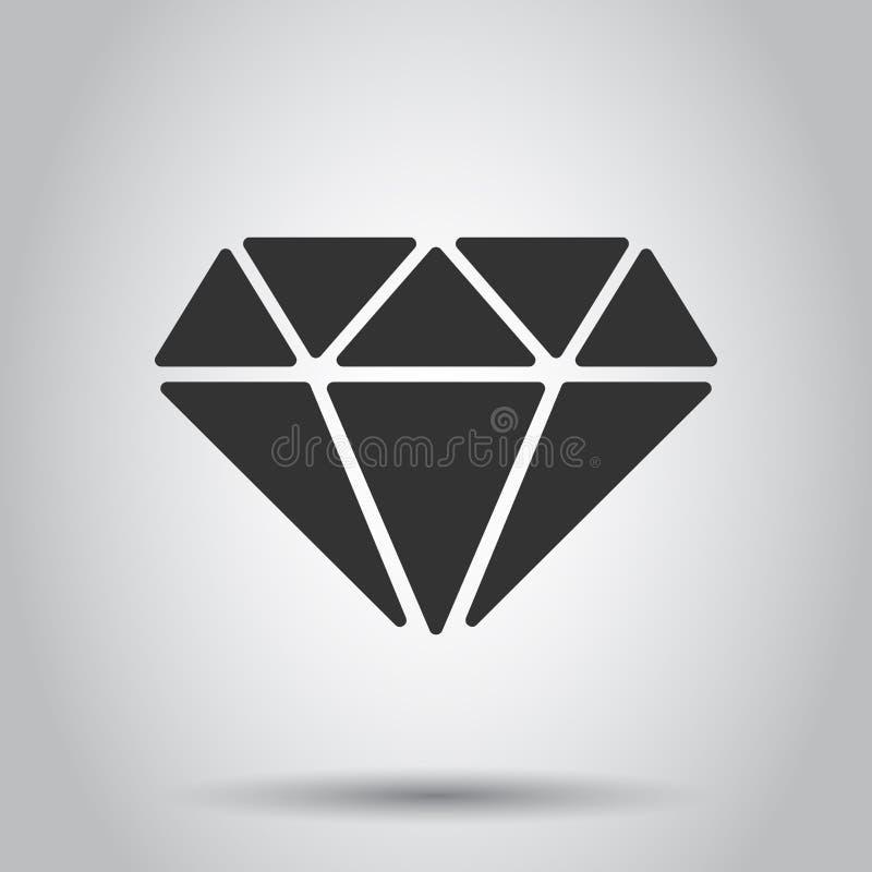 Ícone do vetor da gema da joia do diamante no estilo liso Ilustração de pedra preciosa do diamante no fundo branco Conceito brilh ilustração stock