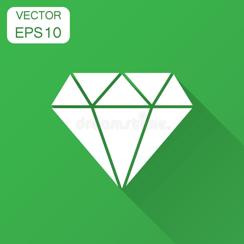 Ícone do vetor da gema da joia do diamante no estilo liso Pedra preciosa IL do diamante ilustração royalty free