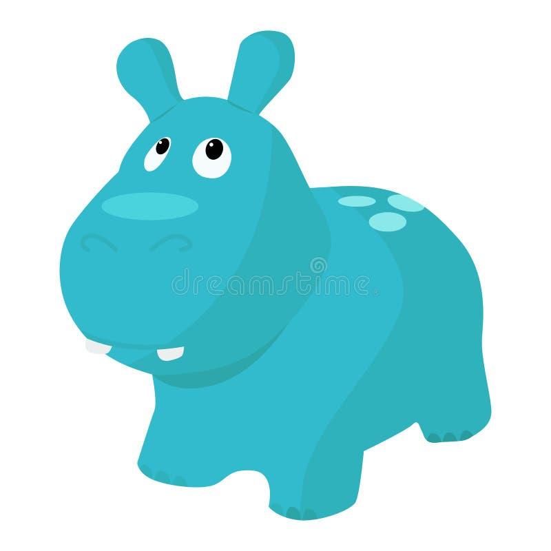 Ícone do vetor da gigante do brinquedo em um fundo branco Ilustração animal do brinquedo isolada no branco Hipopótamo do bebê rea ilustração royalty free
