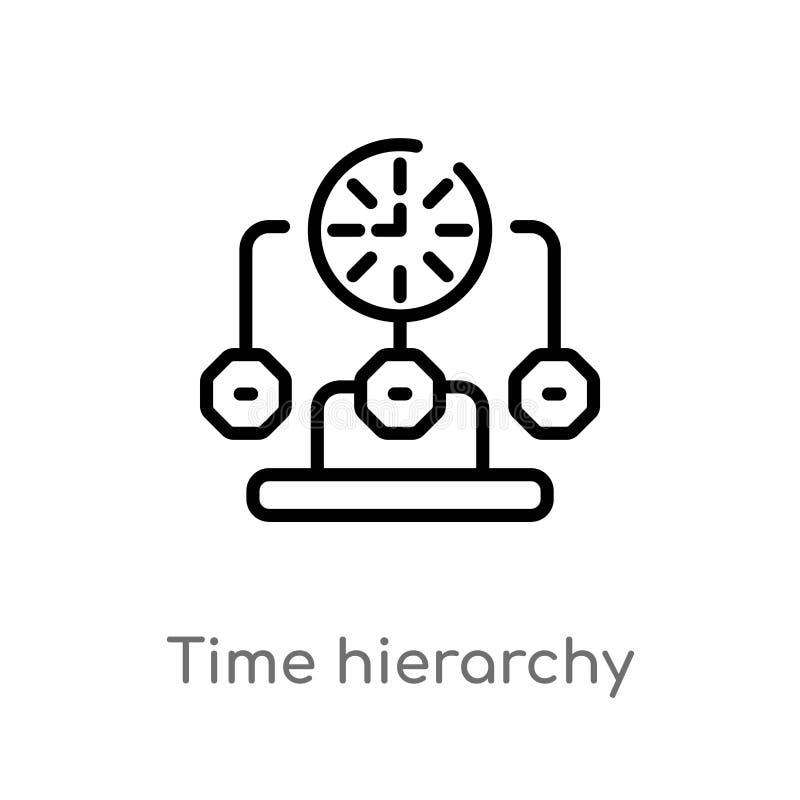 ícone do vetor da hierarquia de tempo do esboço linha simples preta isolada ilustra??o do elemento do conceito da produtividade V ilustração stock