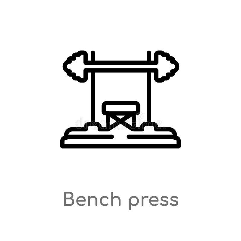 ícone do vetor da imprensa de banco do esboço linha simples preta isolada ilustra??o do elemento do conceito do equipamento do gy ilustração do vetor