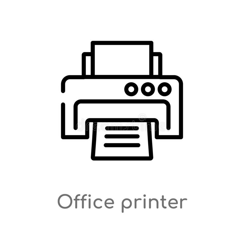ícone do vetor da impressora de escritório do esboço linha simples preta isolada ilustra??o do elemento do conceito da tecnologia ilustração do vetor