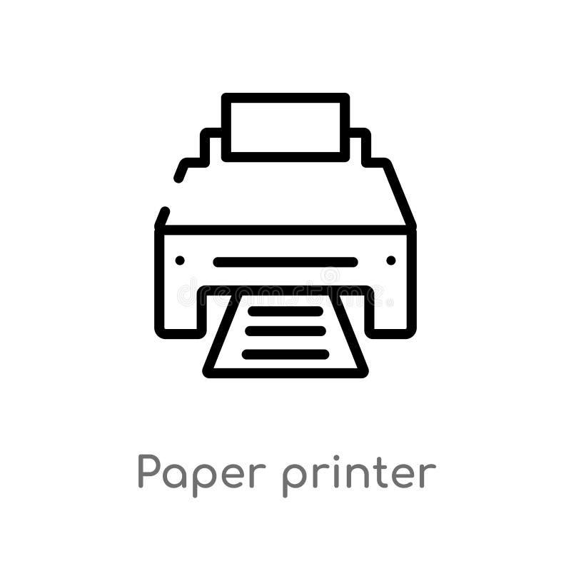 ícone do vetor da impressora do papel de esboço linha simples preta isolada ilustra??o do elemento do conceito da tecnologia Curs ilustração royalty free