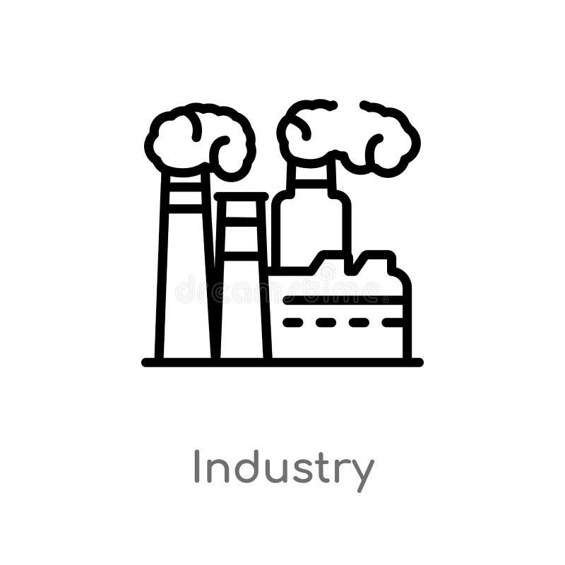 ícone do vetor da indústria do esboço linha simples preta isolada ilustração do elemento do conceito do deserto indústria editáve ilustração stock