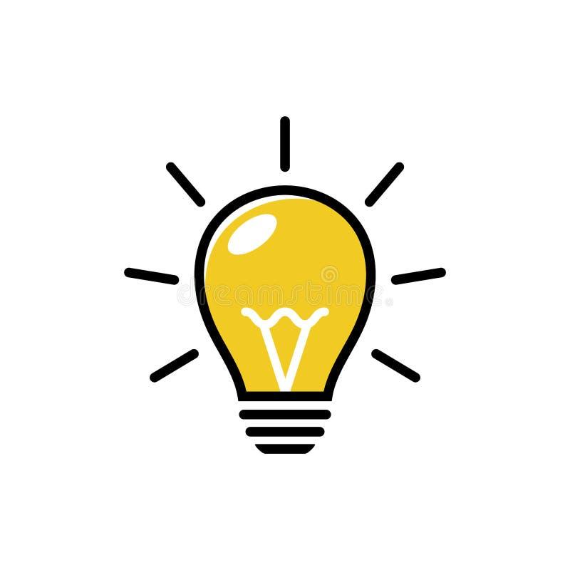 Ícone do vetor da luz de bulbo Iluminando a l?mpada el?trica Vetor do ?cone da ampola Vetor de pensamento do ícone ilustração do vetor