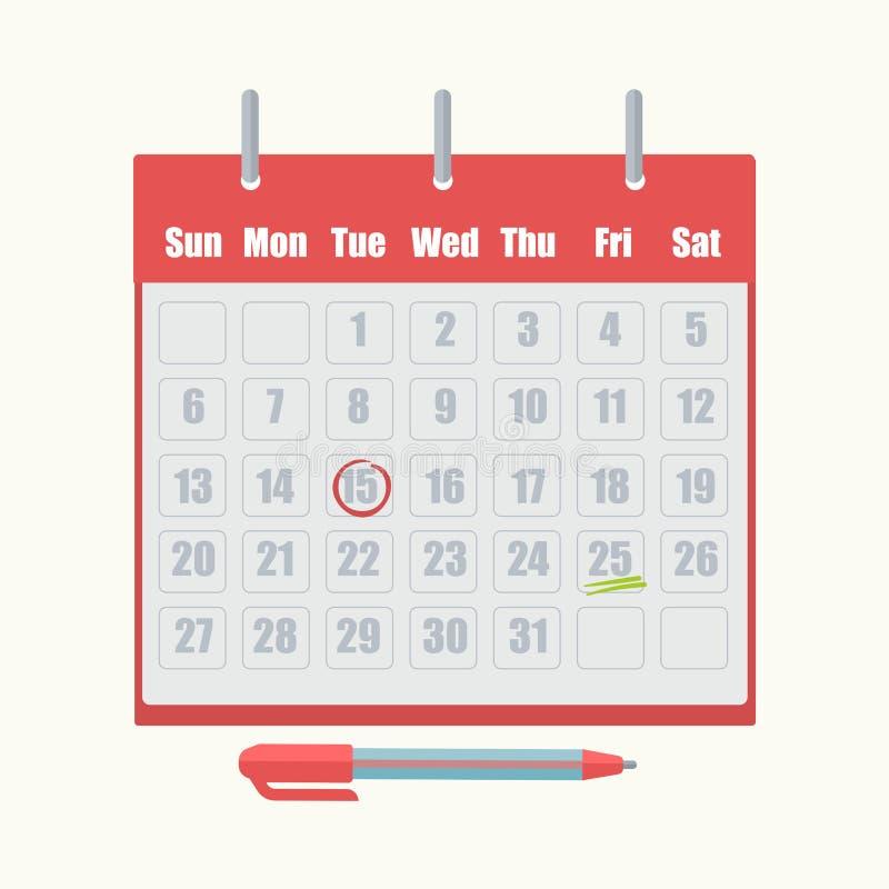 Ícone do vetor da marca da data da nomeação do calendário ilustração royalty free