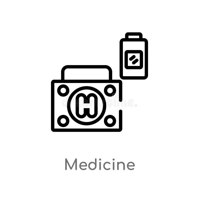 ícone do vetor da medicina do esboço linha simples preta isolada ilustração do elemento do conceito médico Curso editável do veto ilustração stock