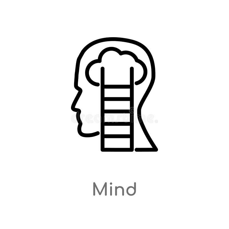 ícone do vetor da mente do esboço linha simples preta isolada ilustração do elemento do conceito do processo do cérebro mente edi ilustração do vetor