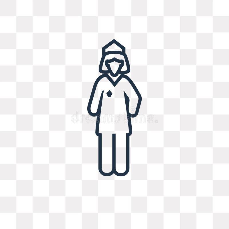 Ícone do vetor da mulher da polícia isolado no fundo transparente, lin ilustração stock