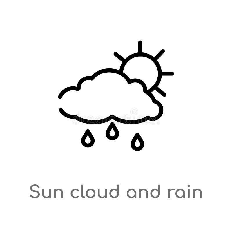 ?cone do vetor da nuvem e da chuva do sol do esbo?o linha simples preta isolada ilustra??o do elemento do conceito do tempo Vetor ilustração do vetor