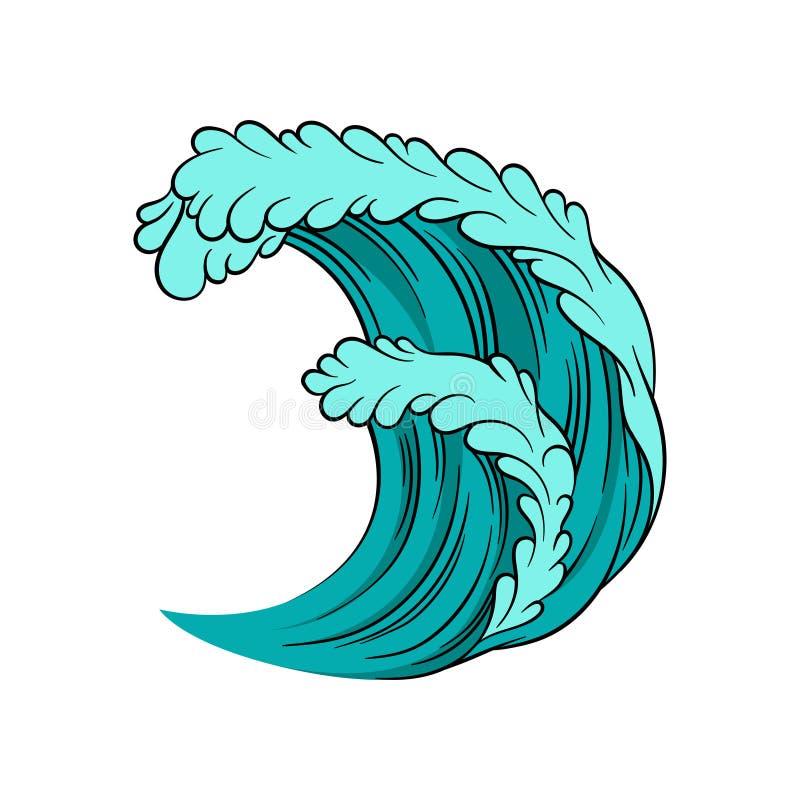 Ícone do vetor da onda poderosa do mar Maré alta do oceano Água azul com esboço preto Tema marinho e náutico ilustração royalty free