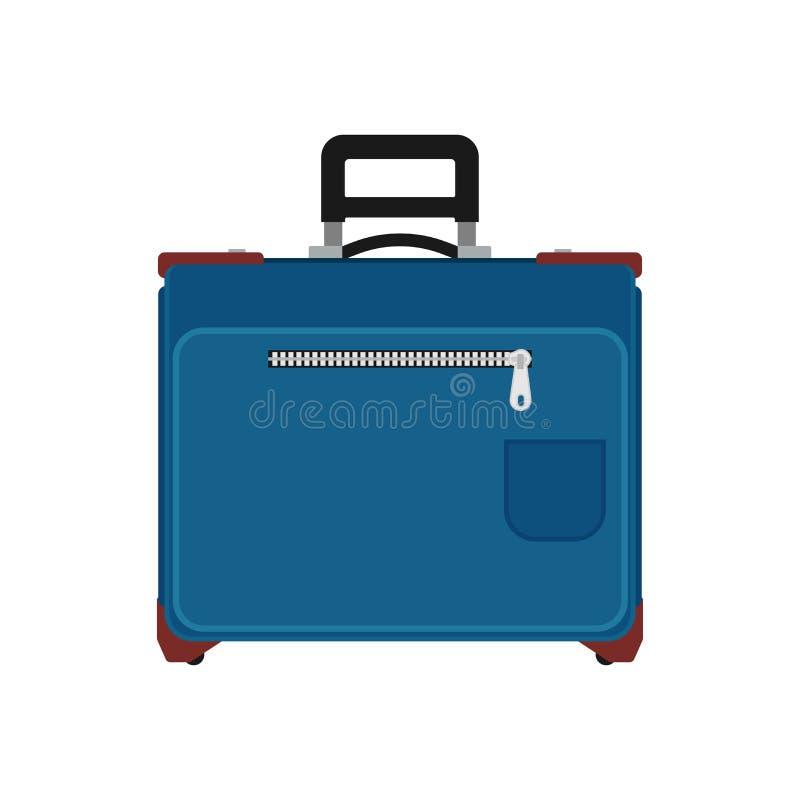 Ícone do vetor da opinião dianteira do curso da mala de viagem O saco das férias da bagagem isolou branco Valise azul do trole do ilustração do vetor