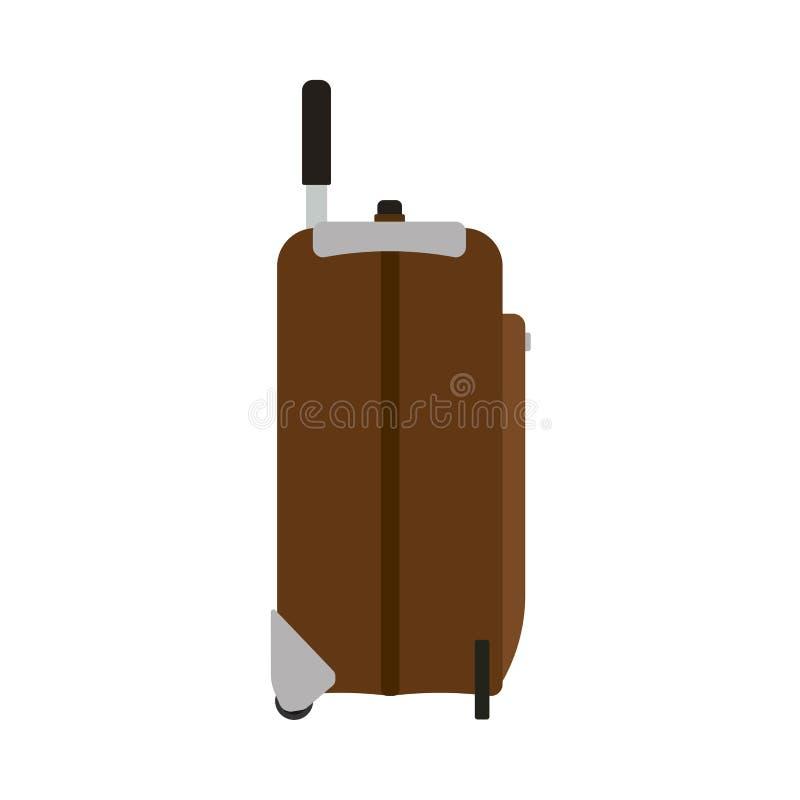 Ícone do vetor da opinião lateral do curso da mala de viagem O saco das f?rias da bagagem isolou branco Valise do trole do marrom ilustração stock