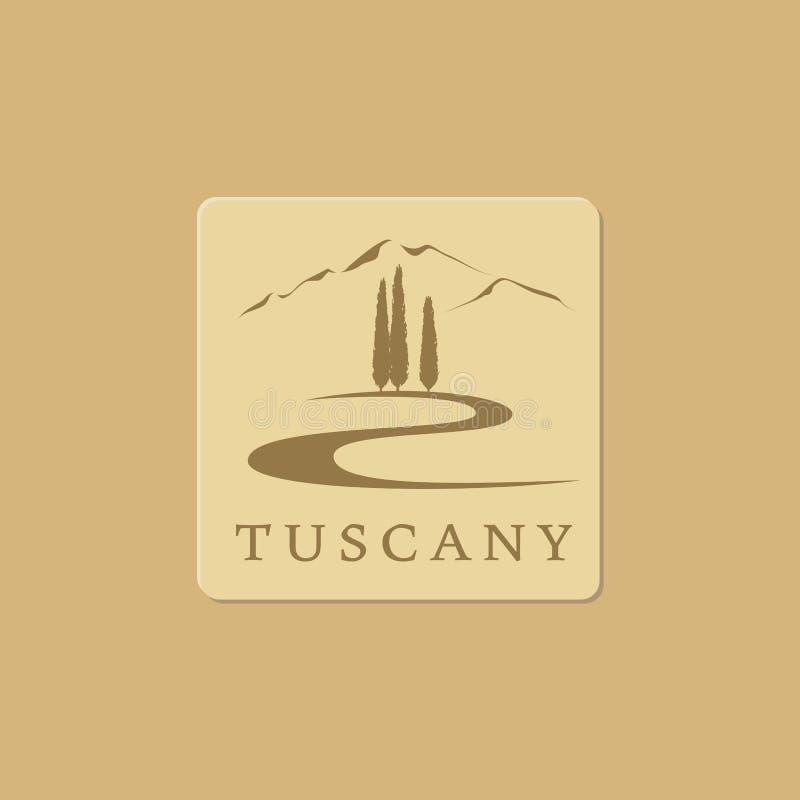 Ícone do vetor da paisagem de Tuscanian ilustração royalty free