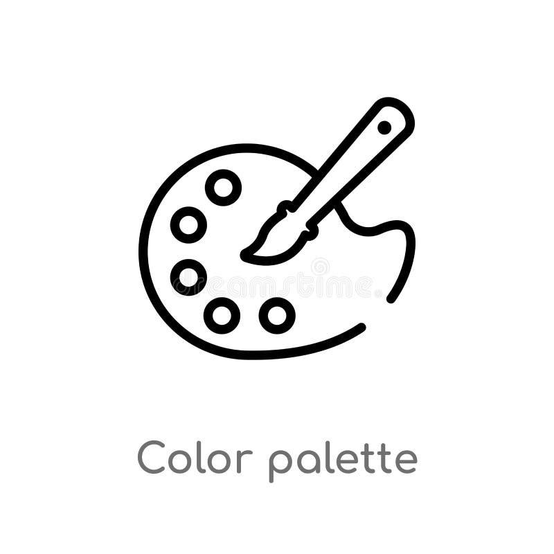 ícone do vetor da paleta de cores do esboço linha simples preta isolada ilustração do elemento do conceito criativo dos pocess Ve ilustração do vetor