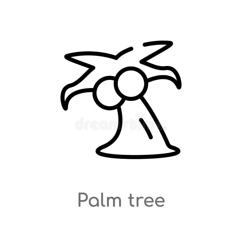 Ícone do vetor da palmeira do esboço linha simples preta isolada ilustra??o do elemento do conceito do brazilia palma edit?vel do ilustração royalty free