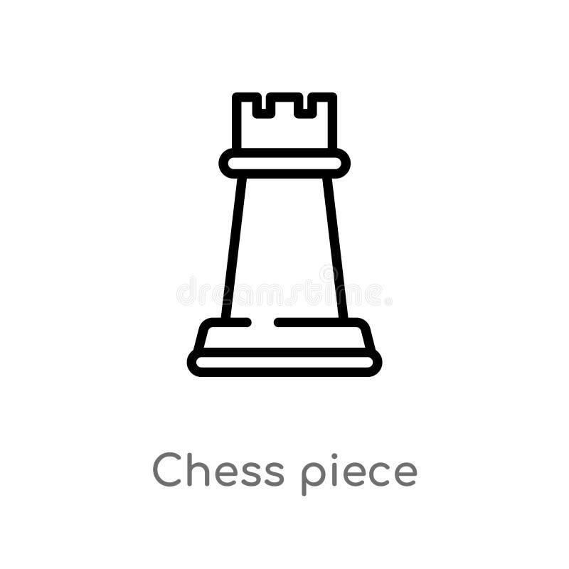 ?cone do vetor da parte de xadrez do esbo?o linha simples preta isolada ilustra??o do elemento do entretenimento e do conceito da ilustração royalty free