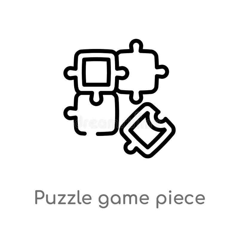 ícone do vetor da parte do jogo do enigma do esboço linha simples preta isolada ilustração do elemento do conceito do negócio Vet ilustração stock