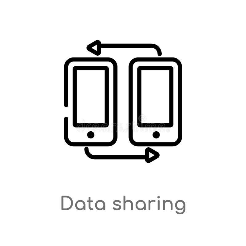 ícone do vetor da partilha de dados do esboço linha simples preta isolada ilustra??o do elemento do conceito dos multim?dios Curs ilustração do vetor