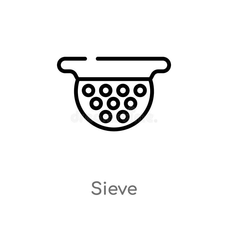 ícone do vetor da peneira do esboço linha simples preta isolada ilustração do elemento do conceito das bebidas ícone editável da  ilustração do vetor