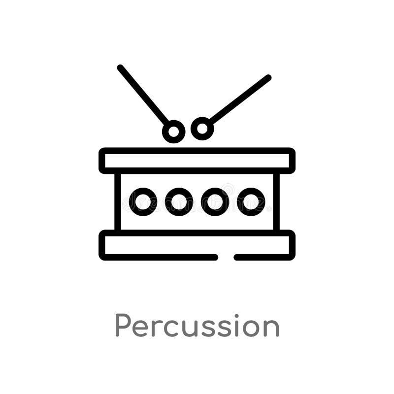 ícone do vetor da percussão do esboço linha simples preta isolada ilustração do elemento do conceito da música Curso editável do  ilustração royalty free