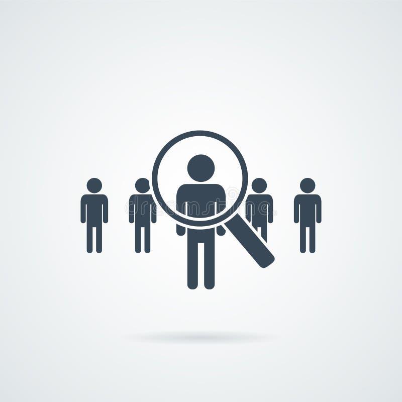 Ícone do vetor da pesquisa de pessoas Silhueta abstrata dos povos na forma da lente de aumento Conceito de projeto para a busca p ilustração stock