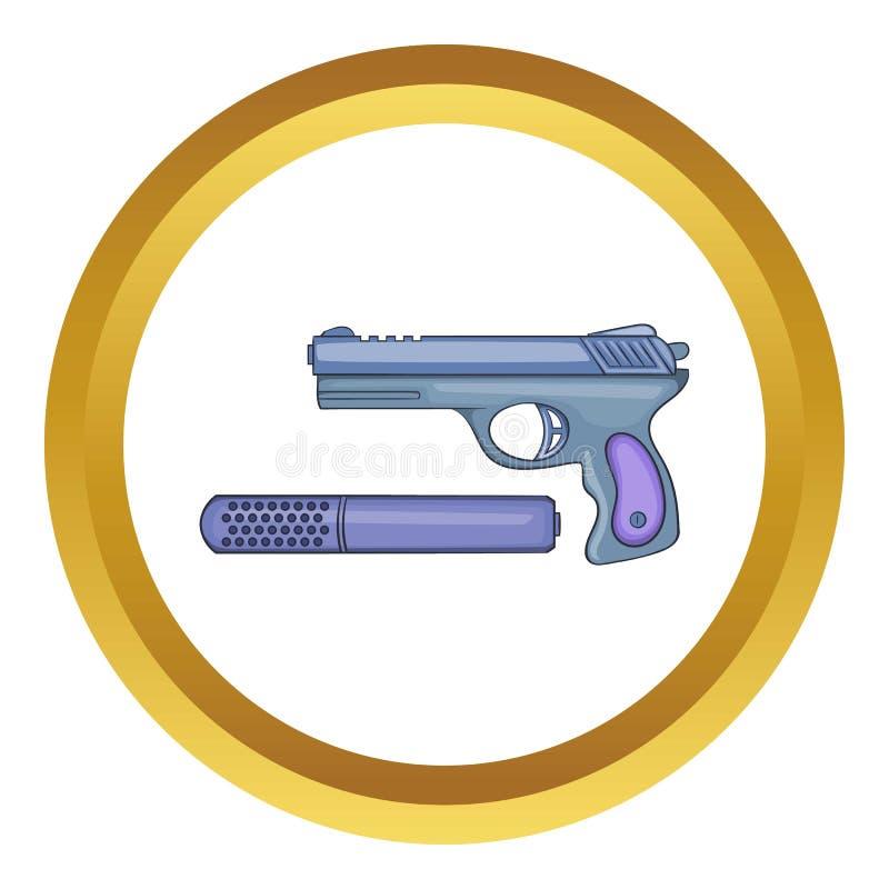 Ícone do vetor da pistola e do silenciador ilustração do vetor