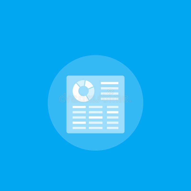 Ícone do vetor da planilha para apps e Web ilustração do vetor