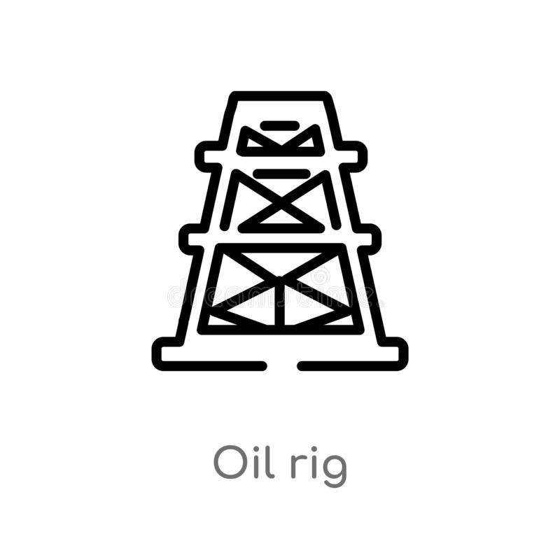 ?cone do vetor da plataforma petrol?fera do esbo?o linha simples preta isolada ilustra??o do elemento do conceito da ind?stria pl ilustração stock