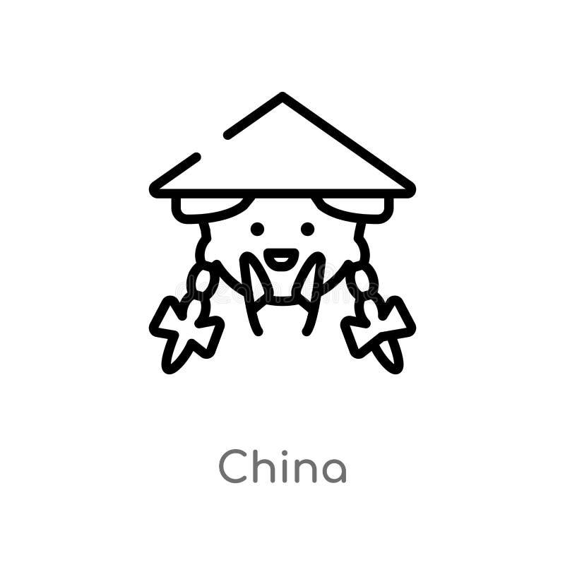 ícone do vetor da porcelana do esboço linha simples preta isolada ilustração do elemento do conceito asiático ícone editável da p ilustração royalty free