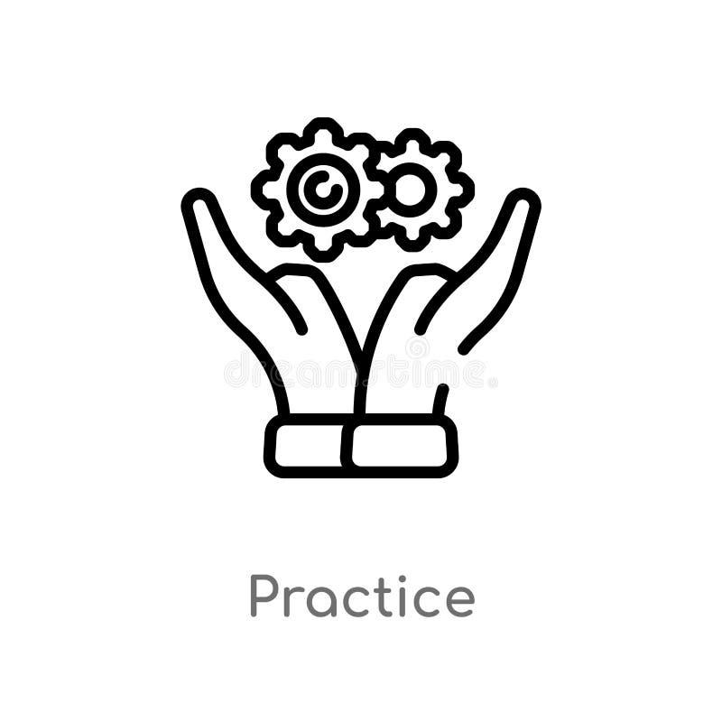 ícone do vetor da prática do esboço linha simples preta isolada ilustração do elemento do conceito da produtividade Curso editáve ilustração do vetor