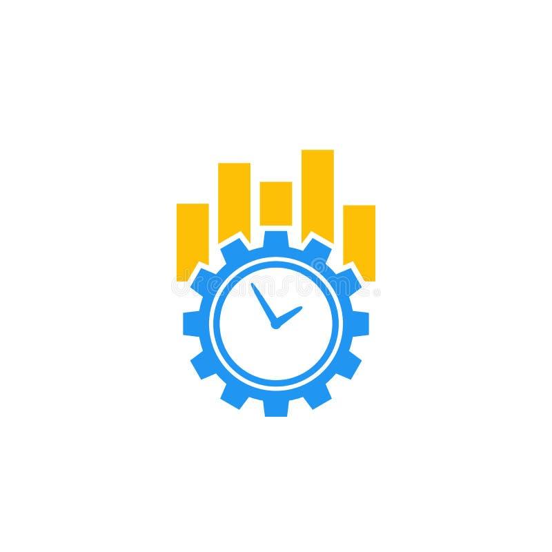 Ícone do vetor da produtividade e da eficiência no branco ilustração do vetor