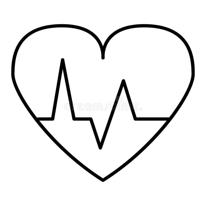 Ícone do vetor da pulsação do coração ícone linear isolado no branco Pictograma do coração do esboço Eps 10 ilustração stock