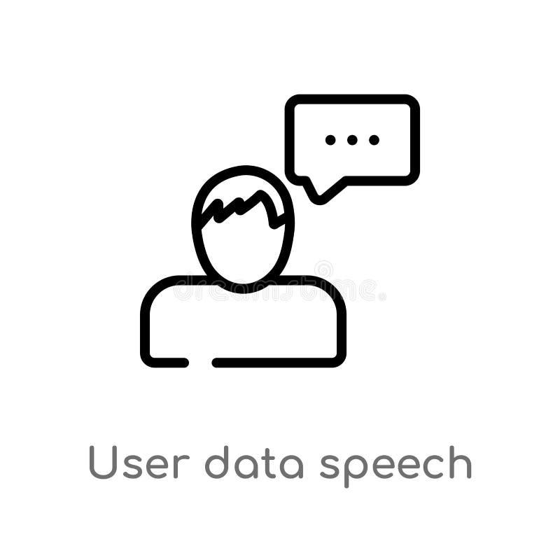 ícone do vetor da relação de discurso dos dados de usuário do esboço linha simples preta isolada ilustração do elemento do concei ilustração stock