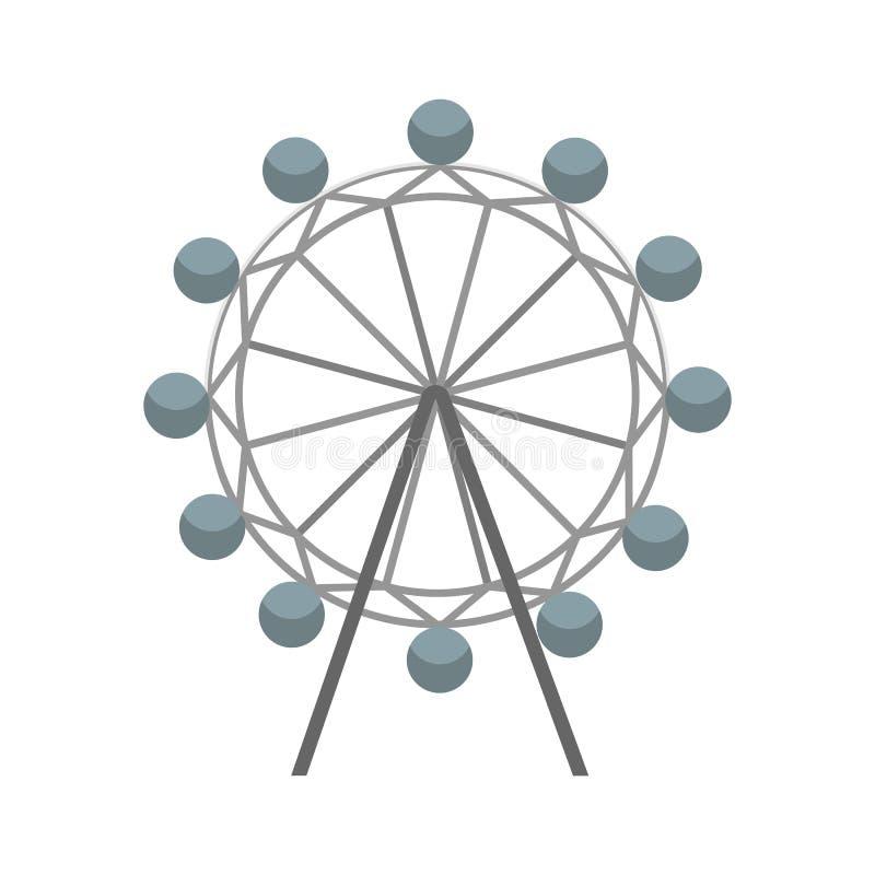 Ícone do vetor da roda de Ferris Símbolo da atração Ilustração lisa do vetor ilustração do vetor