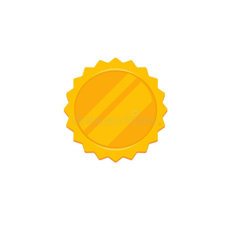 Ícone do vetor da roseta do ouro, crachá vazio dourado da concessão dos desenhos animados lisos etiqueta ou, ideia da qualidade o ilustração stock
