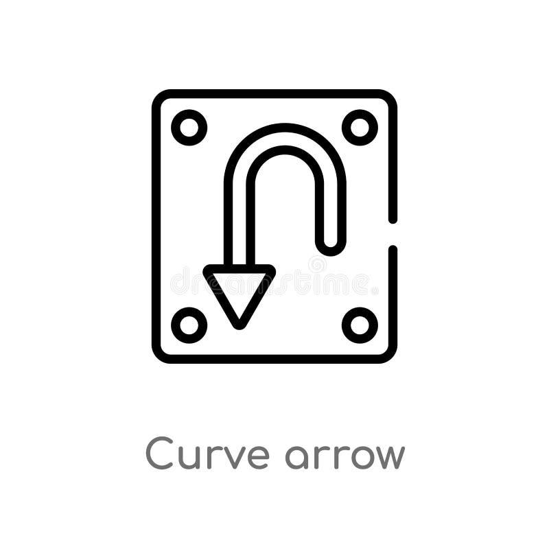 ícone do vetor da seta da curva do esboço linha simples preta isolada ilustra??o do elemento do conceito da interface de usu?rio  ilustração royalty free