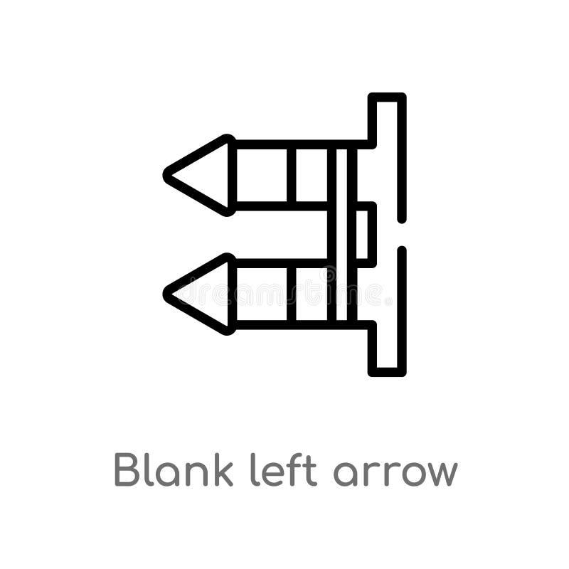 ícone do vetor da seta esquerda da placa do esboço linha simples preta isolada ilustração do elemento do conceito da interface de ilustração do vetor