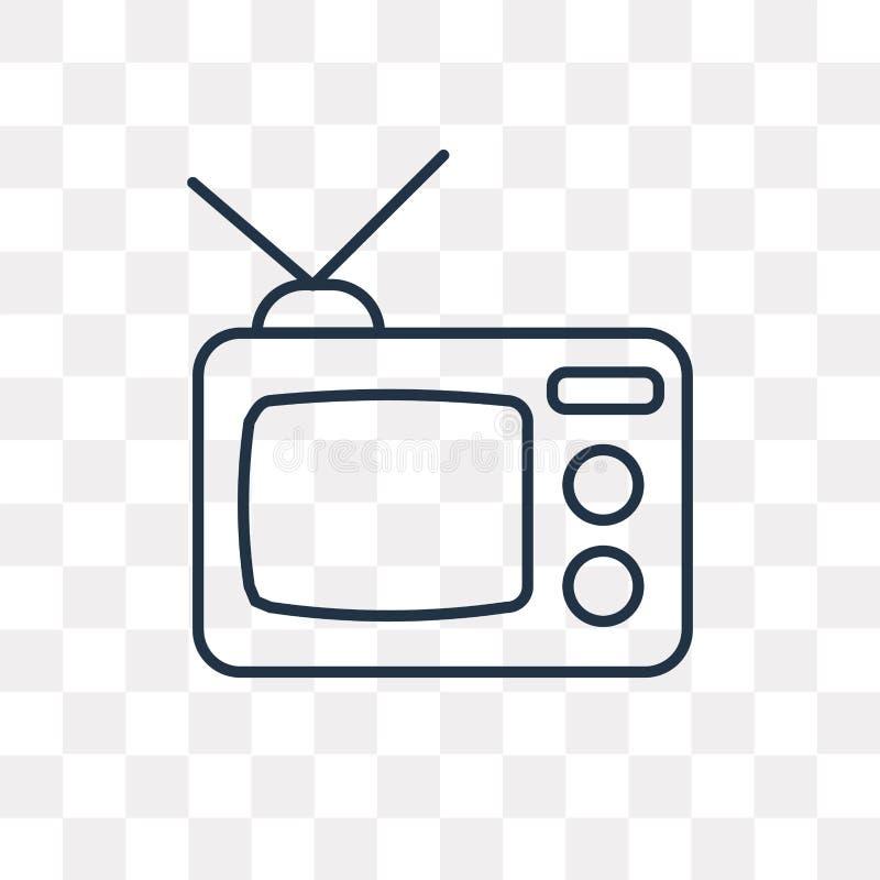 Ícone do vetor da televisão isolado no fundo transparente, linea ilustração do vetor