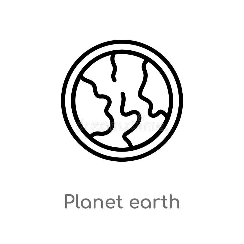 ícone do vetor da terra do planeta do esboço linha simples preta isolada ilustra??o do elemento da entrega e do conceito log?stic ilustração royalty free