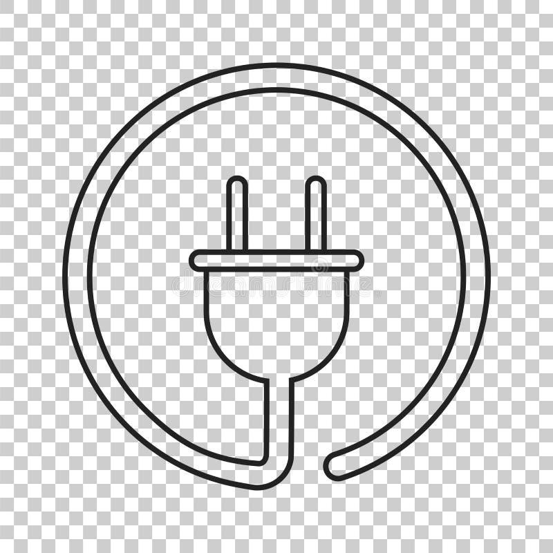 Ícone do vetor da tomada na linha estilo Illustrati liso do cabo de fio do poder ilustração royalty free